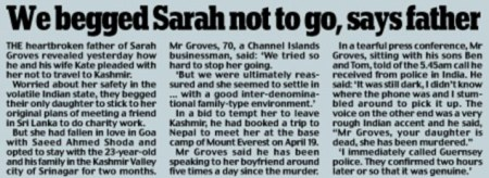 Sarah father did not want her to go to India