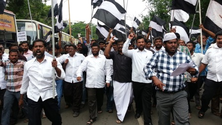 Kolattu Mani with Muslims demonstration on the road
