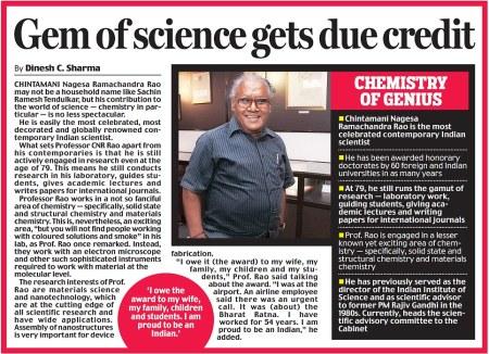 Daily mail UK photo. Prof C N R Rao