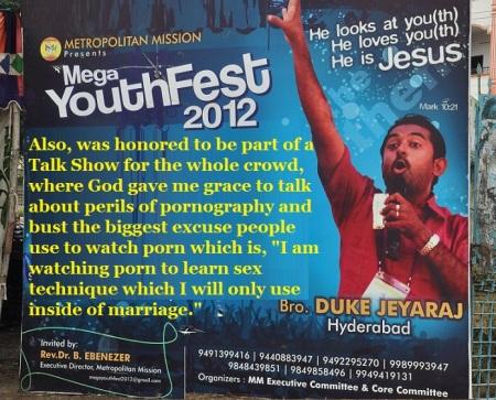 Duke Jeyaraj talks about porn - Hyderabad Youth fest 2012 October