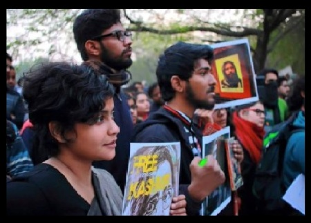 JNU students supporting Afzal.who was hanged